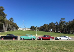 Studebakers in Canberra in front of Parliament House